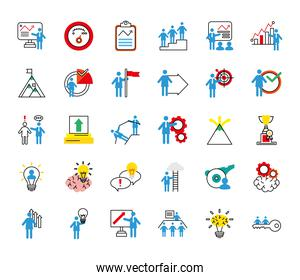 bundle of business people coaching and thirty half line style icons