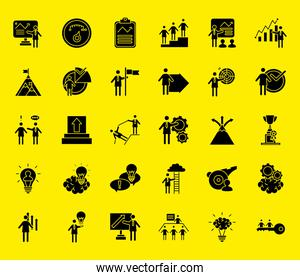bundle of business people coaching and thirty silhouettes style icons