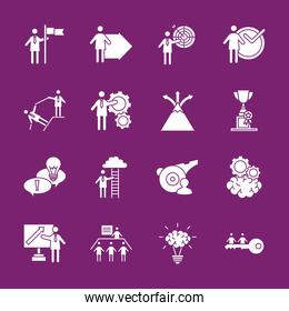 bundle of business people coaching and sixteen silhouettes style icons