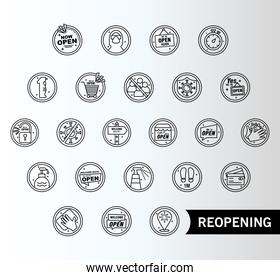 bundle of twenty four reopening labels set line style icons and lettering