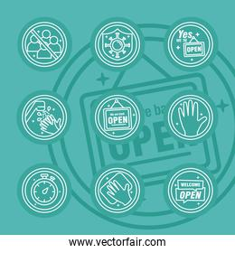 bundle of nine reopening labels set line style icons