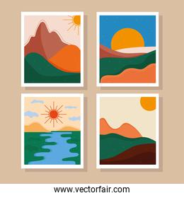 bundle of four abstract landscapes colorful scenes