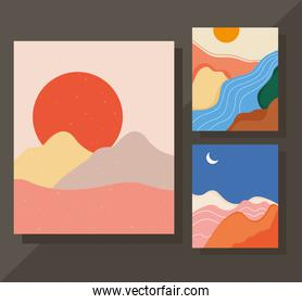 bundle of three abstract landscapes colorful scenes