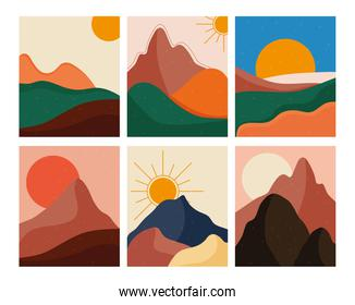 bundle of six abstract landscapes colorful scenes in white background