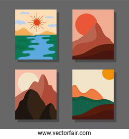 bundle of four abstract landscapes colorful scenes in gray background