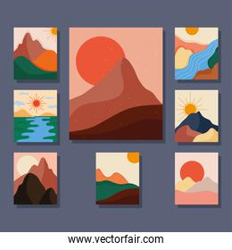 bundle of eight abstract landscapes colorful scenes