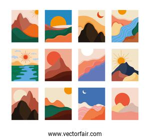 bundle of twelve abstract landscapes colorful scenes