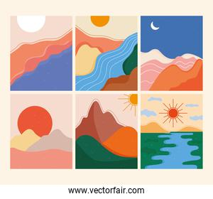 bundle of six abstract landscapes colorful scenes