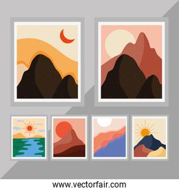 bundle of six abstract landscapes colorful scenes in gray background