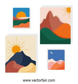 bundle of four abstract landscapes colorful scenes in white background