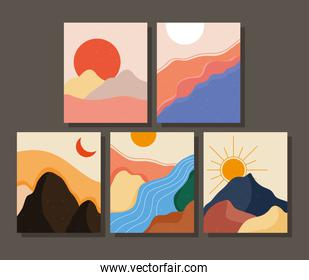 bundle of five abstract landscapes colorful scenes