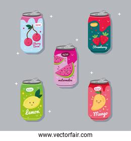 bundle of five juices fruits cans with kawaii characters