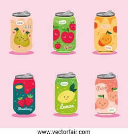 bundle of six juices fruits cans with kawaii characters