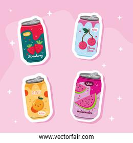 bundle of four juices fruits cans with kawaii characters