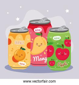 orange with mango and apple kawaii juices fruits characters in cans products