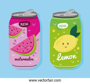 watemelon and lemon juices fruits cans with kawaii characters