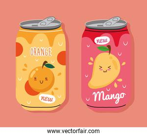 orange and mango juices fruits cans with kawaii characters