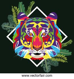 tiger wild life technicolor with leafs frame