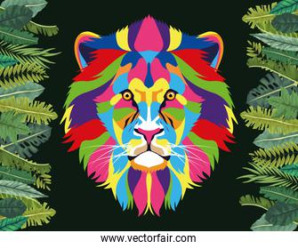 lion wild life technicolor with leafs frame