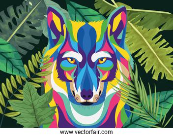 wolf wild life technicolor with leafs plant icon