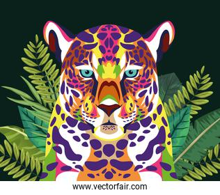leopard wild life technicolor with leafs plants