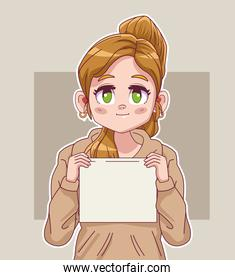 cute little blond girl comic manga character lifting protest label