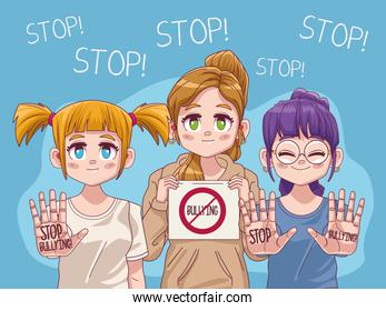 cute little girls group with stop bullying comic manga characters