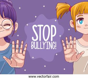 cute little girls couple with stop bullying lettering comic manga characters