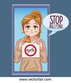 cute little girl with stop bullying banner in smartphone comic manga character