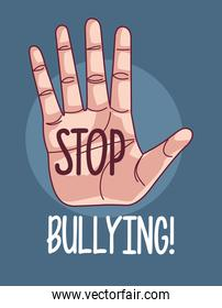hand human with stop bullying lettering