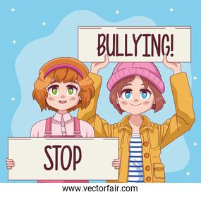 cute little girls couple with stop bullying protest banners comic manga characters