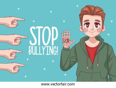 young teenager boy with stop bullying lettering and hands indexing