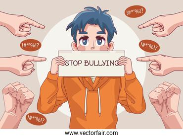 young teenager boy with stop bullying lettering in banner and hands indexing