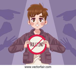 young teenager boy with stop bullying lettering signal and hands indexing