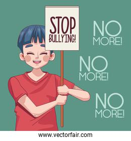 young teenager boy with stop bullying lettering in protest banner