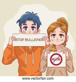 young teenagers couple with stop bullying letterings in banners