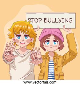 young teenagers couple with stop bullying lettering in banner