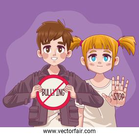 young teenagers couple with stop bullying signal