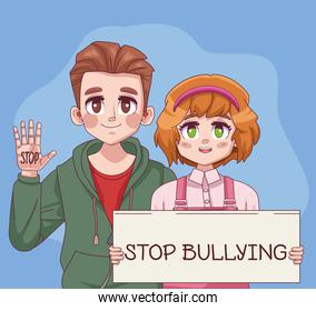 young teenagers couple with stop bullying lettering in label