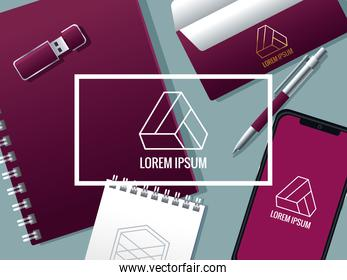 notebook with set elements mockup branding and square frame
