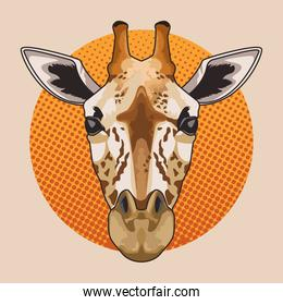 giraffe animal wild head character in dotted background