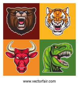 bundle of four wild animals heads characters