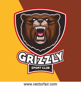 grizzly bear animal wild head character with lettering in shield