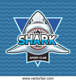 shark animal wild head character with lettering emblem