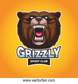 grizzly bear animal wild head character with lettering