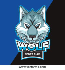 wolf animal wild head character with lettering emblem