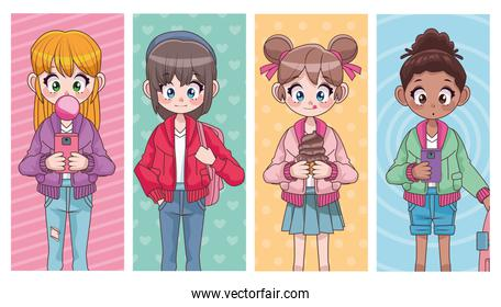 group of four beautiful interracial teenagers girls anime characters