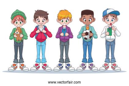 group of five young interracial teenagers boys kids characters
