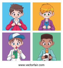 group of four interracial teenagers boys kids characters
