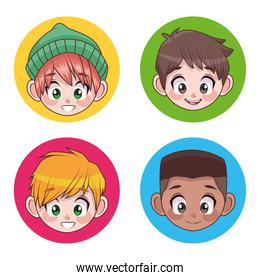 group of four young interracial teenagers boys kids heads characters